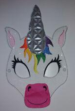 Einhorn-Maske weißes Kunstleder,Einhornmaske mit viel Glitzer, Unicorn f&f
