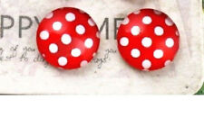 RED WHITE POLKA DOT CABOCHON GLASS STUD EARRINGS 12MM
