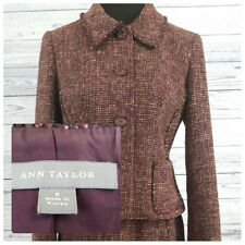 ANN TAYLOR Women's Tweed Wool Blend 4 Button Blazer Pencil Skirt Suit Work Sz 6