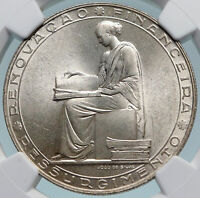 1953 PORTUGAL 25 Years Financial Reform OLD Silver 20 Escudos Coin NGC i85053