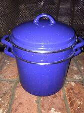 Large Blue Speckled Enamelware Strainer Steamer Pot And Lid 3 Of