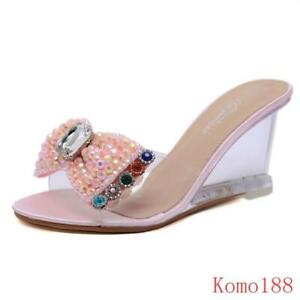 New Womens Bling Transparent Clear Slipper High Wedge Heels Sandals Shoes Pumps