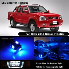 5PCS Blue Interior LED Bulbs for 2005 - 2016 Nissan Frontier White for License