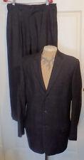 Vintage 40s 50s Black White Herringbone Wool Suit Cuffed Pleated C42 Huntington