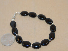 "Sterling Silver and Black Onyx Bracelet 8 1/8"" (13358)"