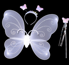 Child Girl Fairy Princess Party Costume Set of Butterfly Wing Wand HeadbandRDRW