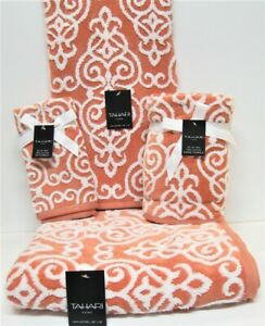 6 PC Towel Set Tahari Home 2 Bath 2 Hand 2 Fingertip Salmon/Coral & White Scroll
