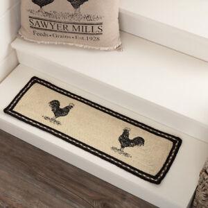 """VHC Brands Farmhouse 8.5""""x27"""" Chicken Stair Tread White Stenciled Floor Decor"""