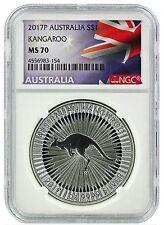 2017 Australia 1oz Silver Kangaroo Ngc Ms70 - Flag Label