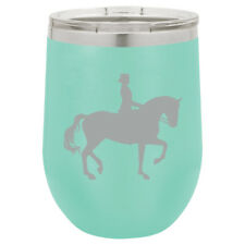 Stemless Wine Tumbler Coffee Travel Mug Glass Insulated Dressage Horse w/ Rider