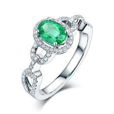 Real 14K White Gold Natural Emerald & Diamond Wedding Antique Women Ring