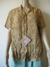 Marks & Spencer Yellow Brown Floral Ethnic Tribal Shirt, Size 20 Button Blouse
