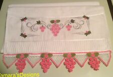 Bath towel With Beautiful Pink, Green, And Silver Embroidery.