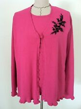 XL pink sweater black flora bead embellished hot pink cardigan one piece size XL