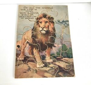 Antique Wooden Jigsaw Lion Painting and Verse 15 Pieces Complete Animal Puzzle