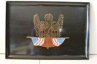 """Vintage Couroc Patriotic Serving Tray 18"""" Eagle Holding Flag Wood Inlay USA"""
