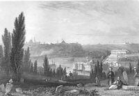 Turkey Istanbul CONSTANTINOPLE HAGIA SOPHIA BLUE MOSQUE 1833 Art Print Engraving
