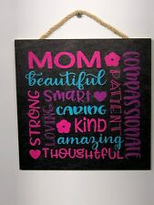 Mom Love Subway Art, Wooden Wall Sign, Home, House, Gift, Mothers Day P116