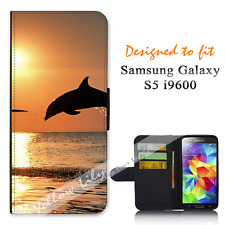 For Samsung Galaxy S5 i9600 Wallet Flip Phone Case Cover Dolphin Jump Y00814