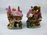 Set Of 2 Spooky Hollow Halloween Haunted House Station porcelain