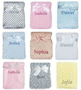 Baby Girl Boy Personalised Blanket Embroidered Name Grey Pink Blue White Yellow