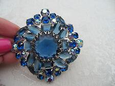 HUGE Vintage Juliana/D&E BLUE Rhinestones Brooch Pin~Stunning!!!