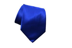 Brioni Mens Silk Necktie Solid Navy Blue Satin Handmade Smooth Finish Tie Italy