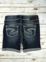 WOMENS SILVER JEANS SHORTS Rhinestone Mid Rise Suki Jean Denim Stretch Short 25
