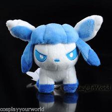 Glaceon Ice Pokemon Eevee Evolution Soft Plush Doll Toy White Winter PKM #471