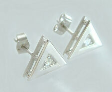 Moderne Dreieck Ohrstecker Silber 925 mit Zirkonia - Silberohrstecker - Ohrringe