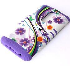 For LG G2 (AT&T TMOBILE SPRINT) HARD&SOFT RUBBER HYBRID SKIN CASE PURPLE FLOWERS