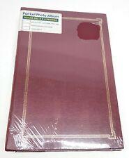 "Vintage Red w/ Gold Alligator Cover Pocket Photo Album 300 4""x6"""