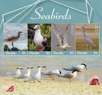 Tuvalu Birds on Stamps 2019 MNH Seabirds Herons Terns Booby Curlew 4v M/S