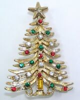 Vintage Christmas Pin Brooch Gold Tone Tree Multi Color Rhinestones Unsigned