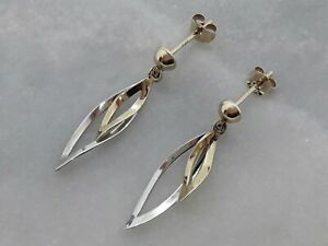 Beautiful Pair Solid 9ct Yellow And White Gold Leaf Shaped Drop Dangle Earrings