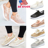 Womens Sequin Glitter Sneakers Tennis Lightweight Walking Comfort Athletic Shoes