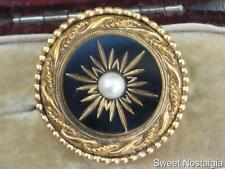 SPHINX STAR BURST BLACK CUT FRENCH JET GLASS & FAUX PEARL SIGNED A527 BROOCH