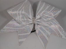 Cheer Bow White w Silver Holographic ZeBra Animal Print by BlingItOnCheerBowz