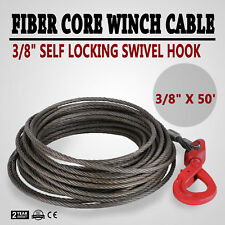 "3/8"" x 50' Fiber Core Winch Cable Self Locking Swivel Hook Tow Truck Wire GREAT"