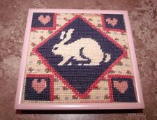 "Framed NEEDLEPOINT RABBIT AND HEARTS 6"" x 6"""