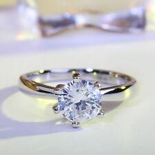 1 CT Fashion 925 Silver AAA Zircon Round Diamond Rings Women Engagement Jewelry