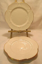 Shelley England REGENCY Four (4) Dainty White Gold Trim Salad Plates 8 1/4""