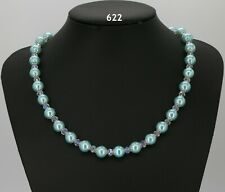 """Baby blue glass pearl 10mm bead necklace, clear crystals, filigree caps 19""""+2"""