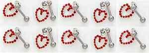 "1) Single Fancy Dangle Tragus Ear Ring Chain Red Heart 16g 1/4"" Gemstone CZ 125"
