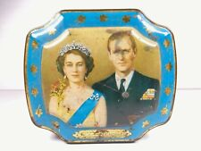 Vintage 1953 Queen Elizabeth II And Prince Phillip Coronation Blue Candy Tin