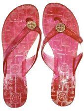 Tory Burch Sz 7 (no tag) Pink Plastic Jelly Thong Sandal & Gold Emblem Flip Flop