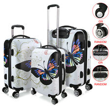 Set of 3 PCS White Butterfly Print Travel Luggage Suitcase 4 Wheel Cabin Trolley