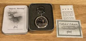 "Avon ""Majestic Morning"" Al Agnew Deer Buck Pocket Watch New in Tin Box"