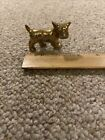 Vintage Schnauzer Sculpture Dog Figurine Hand Painted Gold