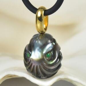 Octopus Carved Black Tahitian Pearl Emerald Gold Vermeil Sterling Pendant 4.04 g